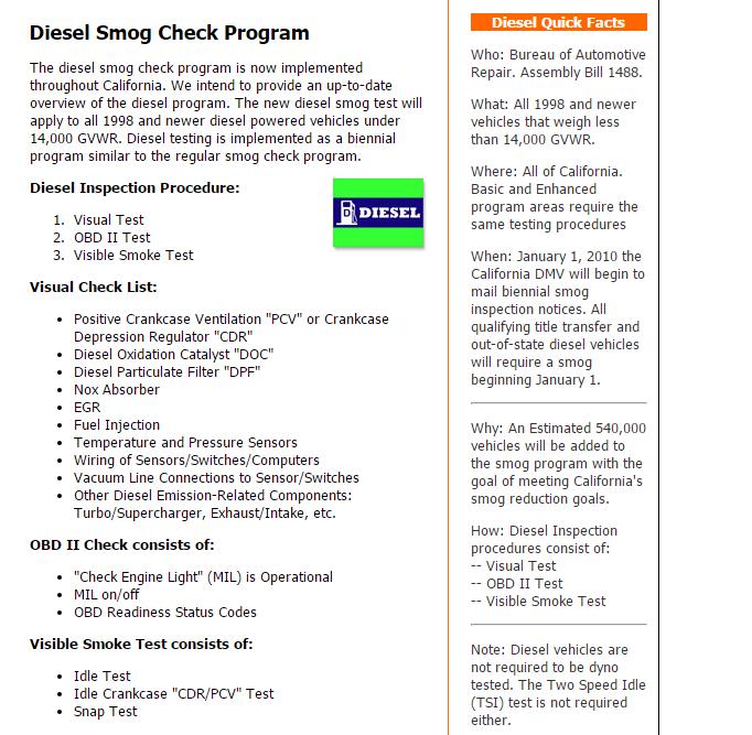 Diesel Smog Check Temecula